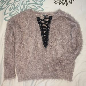 Sweaters - Fuzzy Express Lace Up Sweater